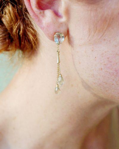 14 karaat gouden oorhangers met prasioliet