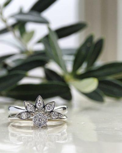 19 karaat witgouden verlovingsring met trouwring