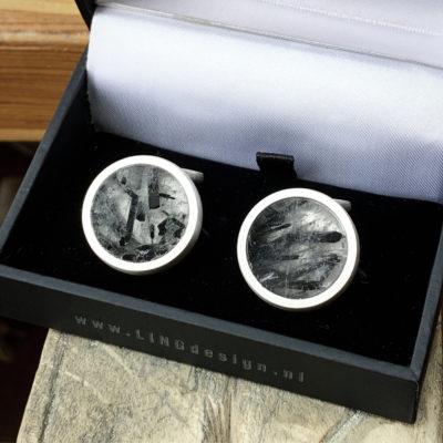 Zilveren manchetknopen met toermalijnkwarts